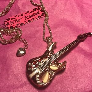 Betsey Johnson opal guitar necklace